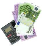 Calculator met Euro bankbiljetten Royalty-vrije Stock Foto's