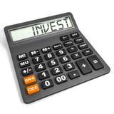 Calculator met INVEST op vertoning. Royalty-vrije Stock Afbeelding