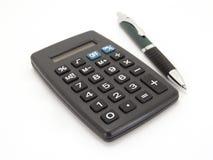 Calculator met pen Royalty-vrije Stock Afbeeldingen