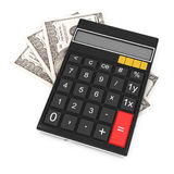 Calculator and money. On white background. 3d rendered image Royalty Free Stock Photo