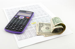 Calculator and money Royalty Free Stock Image