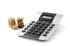 Calculator and money. Isolated on a white background royalty free stock photos