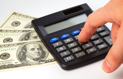 Calculator and money - accounting concept Stock Images
