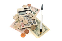 Calculator with Money and Coins Royalty Free Stock Photography
