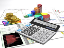 Calculator, money, credit cards and diagrams are on a business b. Ackground Royalty Free Stock Photo