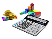 Calculator, money, credit cards and diagrams are on a white back. Ground Stock Images