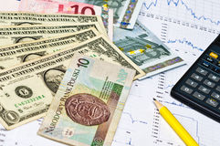 Calculator, money and graph Stock Image