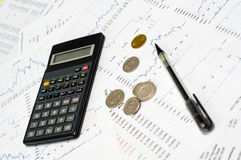 Calculator, money, graph and pencil Royalty Free Stock Photography