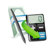 Calculator and money illustration design Royalty Free Stock Photography