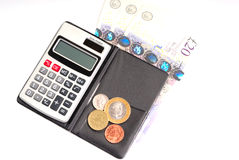 Calculator and money isolated. Photograph of electric calculator and money Royalty Free Stock Image