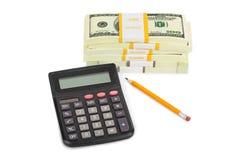 Calculator and money Stock Image