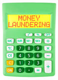 Calculator with MONEY LAUNDERING isolated Stock Image