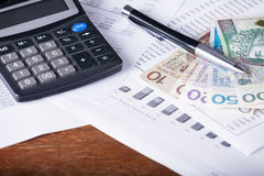 Calculator money statistics papers pen business concept Royalty Free Stock Photos