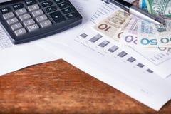 Calculator money statistics papers pen business concept Stock Photos