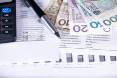Calculator money statistics papers pen business concept Royalty Free Stock Image