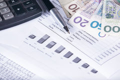 Calculator money statistics papers pen business concept Royalty Free Stock Images