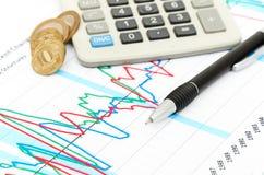 Calculator, muntstukken en pen die op grafiek leggen. Stock Fotografie
