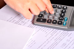 Calculator Next to Maths Exercices Royalty Free Stock Photography
