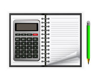 Calculator with notebook Royalty Free Stock Photos