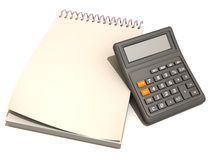Calculator, notebook. 3d Very beautiful three-dimensional illustration, figure Royalty Free Stock Image