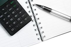 Calculator notebook and business pen Royalty Free Stock Photography