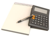 Calculator, notebook and  pen Stock Images