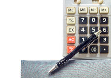 Calculator, notebook and pen isolated Royalty Free Stock Photography