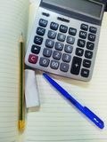 Calculator ,Notebook, Pen Royalty Free Stock Image