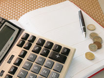 Calculator with notebook Royalty Free Stock Photography