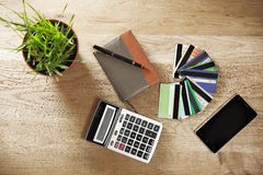 Calculator,Notepad and a Bank of discount and credit cards Stock Photos
