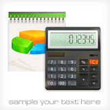 Calculator & notepad diagram Royalty Free Stock Photography