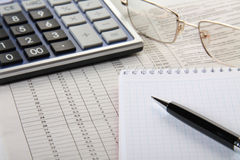 Calculator, notepad and pen Royalty Free Stock Photography