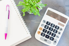 Calculator, notepad,  pen and green plant on grey background Royalty Free Stock Photo
