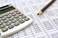 Calculator with numbers Stock Photos