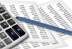 Calculator and office supplies. Stock Images