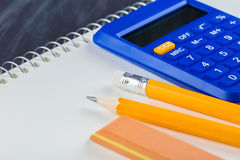 Calculator and Office supplies close-up Stock Image