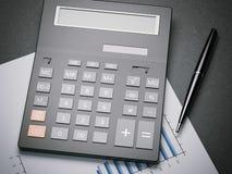 Calculator op een blad met grafieken het 3d teruggeven Stock Afbeelding