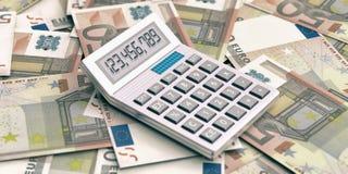 Calculator op euroachtergrond 3D Illustratie Stock Afbeelding