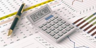 Calculator op financiële verslagen 3D Illustratie Royalty-vrije Stock Afbeeldingen