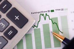 Calculator op grafiek Royalty-vrije Stock Afbeeldingen