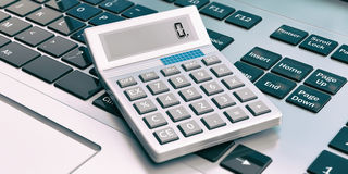 Calculator op laptop 3D Illustratie Stock Afbeelding