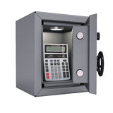 Calculator in an open metal safe Royalty Free Stock Photography