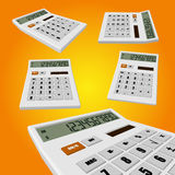 Calculator on an orange background. White calculator on an orange background. vector illustrations for for your business Stock Photo