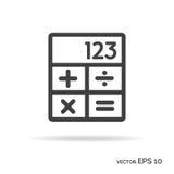 Calculator outline icon black color. Vector Illustration Stock Image