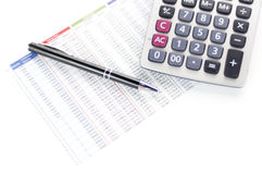 Calculator, paper and pen. On white background Stock Image
