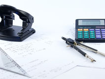 Calculator and paper tools. Business work table Stock Photo