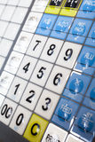Calculator part. Calculator detail keypad numbers as a part of machine Royalty Free Stock Images