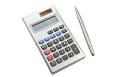 Calculator and pen. Electronic calculator and pen isolated on a white background with clipping path Stock Image