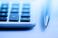 Calculator and pen Royalty Free Stock Photography