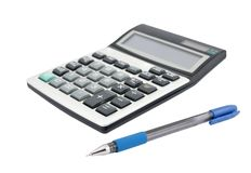 Calculator and a pen Royalty Free Stock Photos